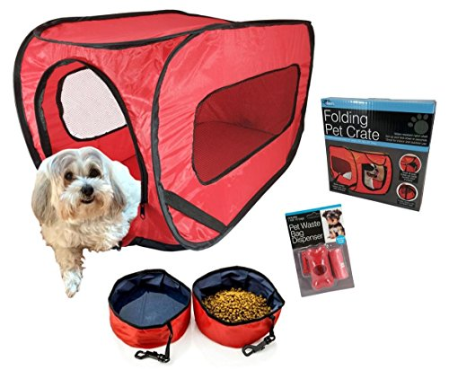 Pop-Up-Pet-Kennel-Travel-Set-with-2-Folding-Food-and-Water-Bowls-Pet-Waste-Bags-Leash-Clip-Dispenser-and-Crate-Training-E-book-Soft-Sided-Collapsible-Carrier-for-Small-Pets-Weighing-Under-25-lbs