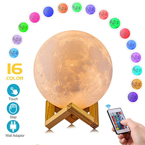 AED Moon Lamp with Stand, Slap & Touch & Remote Control, 16 RGB Colors, Dimmable, USB Recharge, 3D Printed Moon Night Light with UL Listed Adaptor, Christmas Thanksgiving Gifts for Kids (4.7INCH)