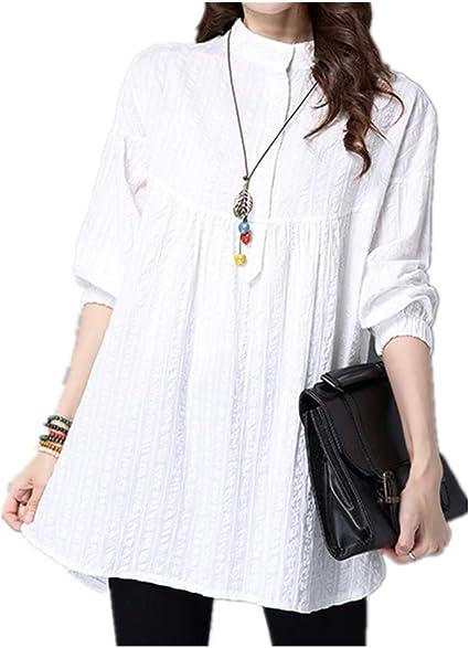 NOBRAND - Camiseta blanca para mujer, manga larga, holgada, cuello de cáñamo de algodón: Amazon.es: Ropa y accesorios