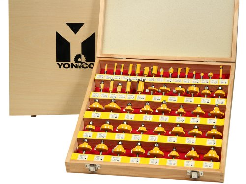 Yonico 17504 50 Bits Professional Quality Router Bit Set C3 Carbide 1/4-Inch Shank by Yonico