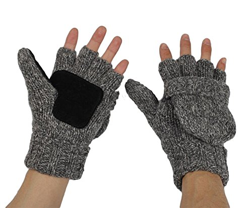 Creimage Winter Gloves Warm Wool Mittens With Mitten Cover Gloves