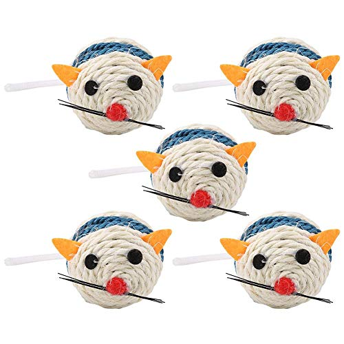 HEEPDD 5pcs Ball Shaped Mouse Cat Toys, Pet Chew Sisal Ball Toy Cat Sisal Ball Teeth Cleaning Training Toys Cats Dogs Pets Interactive Exerciser