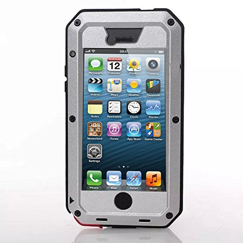 iPhone 5C Case, Tomplus Gorilla Glass Luxury Aluminum Alloy Protective Metal Extreme Shockproof Military Bumper Heavy Duty Cover Shell Case Skin Protector for Apple iPhone 5C (X-silver)