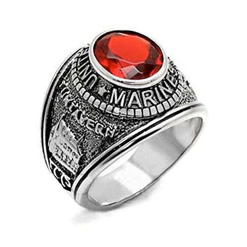 US Marines Ring - (Silver Color w/ Red Stone) USMC Marine...