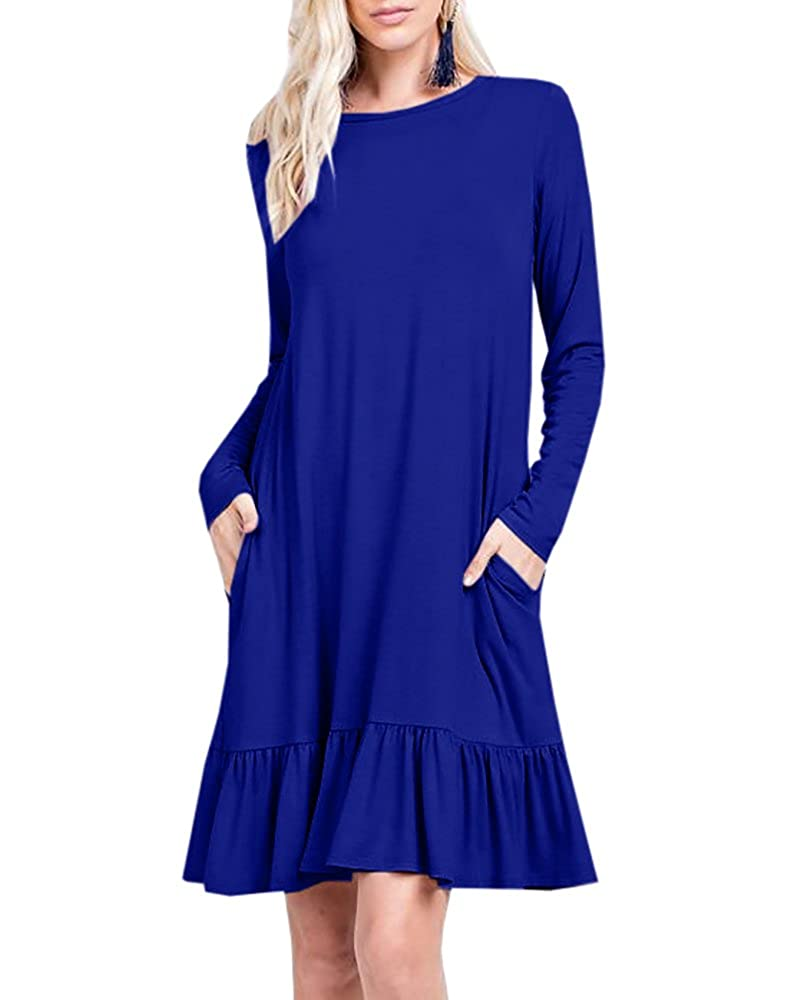 bluee Youxiua Womens Casual Long Sleeve Ruffle Dresses Loose Flowy Round Neck Swing Pockets Midi Dresses