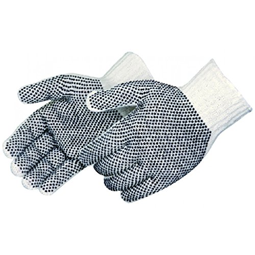Pvc Dotted Cotton Glove (Cotton Polyester Dotted Work Gloves, String Knit, PVC dots on two sides (Pack of 12 Pairs))