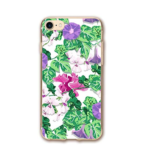 (Phone case Compatible with iPhone 7 iPhone 8 Flower Spring Morning Glory Geranium Lightweight Anti-Fingerprint Slim Soft Covers)