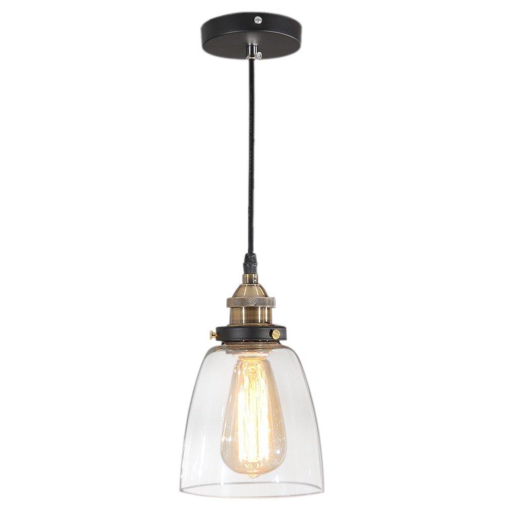 Tomshine pendant lighting glass shade hanging light fixture oil rubbed bronze for farmhouse kitchen island amazon com