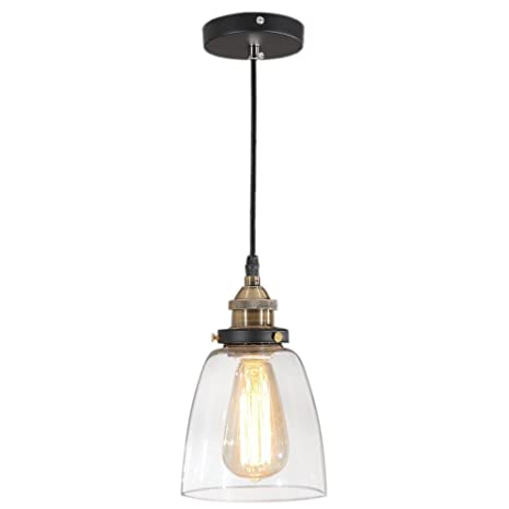 Tomshine Pendant Lighting Glass Shade Hanging Light Fixture Oil Rubbed  Bronze for Farmhouse Kitchen Island
