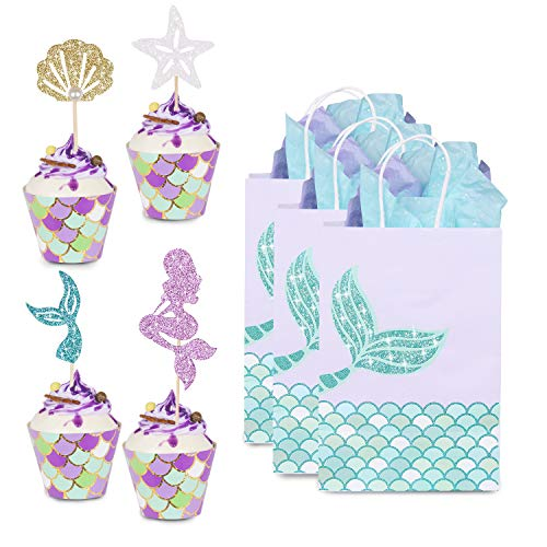 - YOUTH UNION 60 Pack Mermaid Cupcake Toppers & Wrappers & Mermaid Gift Bags for Baby Shower Birthday Party Supplies Cake Decoration