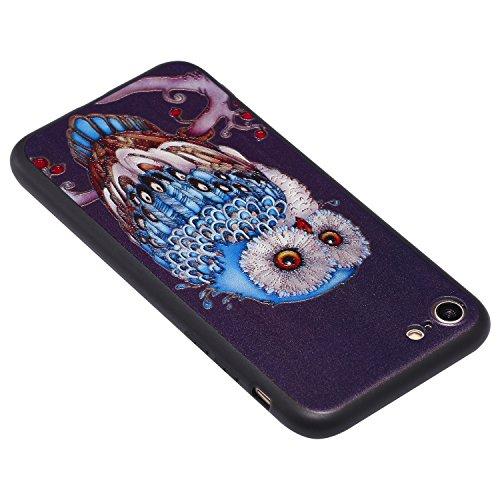 iPhone 7 Hülle 3D Blaue Eule Premium Handy Tasche Schutz Schale Für Apple iPhone 7 + Zwei Geschenk
