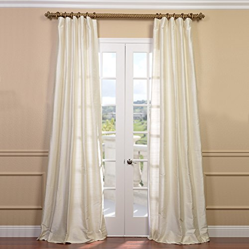 HPD Half Price Drapes DIS-ID7727-96 Textured Dupioni Silk Curtain, 50 x 96, Pearl