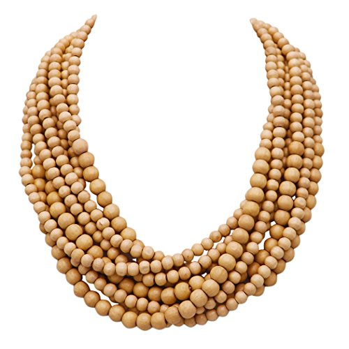Rosemarie Collections Women's Wooden Bead Multi Strand Statement Bib Necklace (Tan)