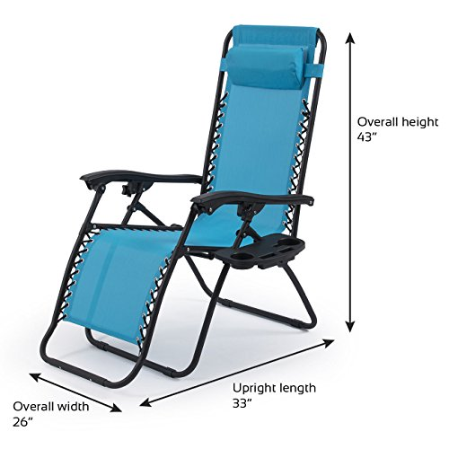 New Zero Gravity Chairs Set Of 2 {Two) Sky Blue Lounge Outdoor Patio Yard Beach Chairs! - Bunbury Miami