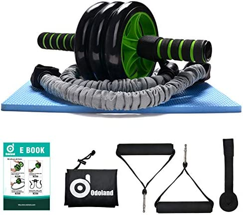 Odoland 3-In-1 AB Wheel Roller Kit AB Roller Pro with Resistant Band,Knee Pad,Anti-Slip Handles,Storage Bag and Training Program - Perfect Abdominal Core Carver Fitness Workout for Abs 1