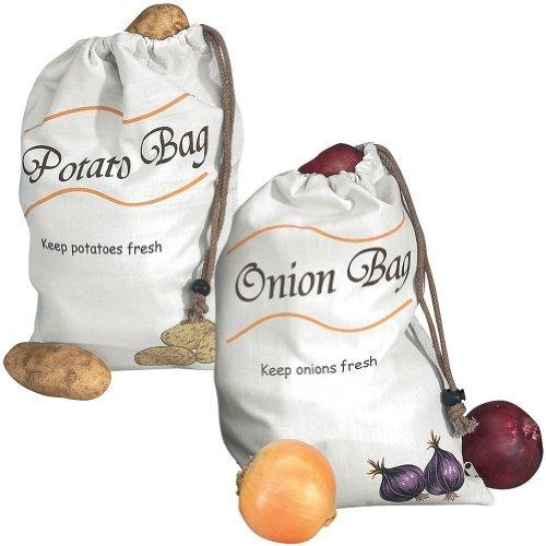 Miles Kimball Potato & Onion Sprout-Free Vegetable Storage Bags - White