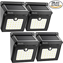 Bright 28 LED Solar Powered Motion Sensor Security Wall Lights-BAXIA TECHNOLOGY Waterproof Wireless Motion Detected Night Light for Outdoor Gate, Door, Driveway, Garden, Patio, Yard(4 Packs)