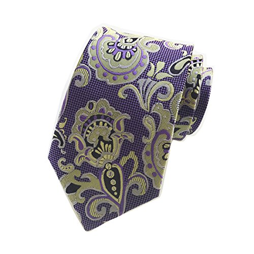 MENDENG Gold Blue Mens Floral Paisley Ties Silk Jacquard Woven Suits Tie Necktie -