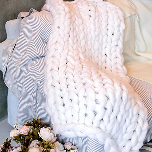 White Super Chunky Merino Wool Blanket,Chunky Knit Blanket Giant Bulky Yarn Blanket 79x79in Chunky Knit Throw,Arm Knit Blanket for Boy Girl by Clisil (Image #4)