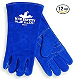 MCR Safety 4600 Blue Beast Split Cow Leather Deluxe Welder Gloves with Reinforced Palm and Wing Thumb, X-Large, Blue, 12-Pack