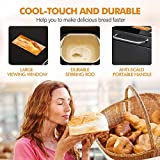 KBS 17-in-1 Bread Machine with Double Tubes, 2LB XL Bread Maker with Fruit Nut Dispenser, Ceramic Pan& Digital Touch Panel, 3 Loaf Sizes 3 Crust Colors, Reserve& Keep Warm Set, Stainless Steel/Black