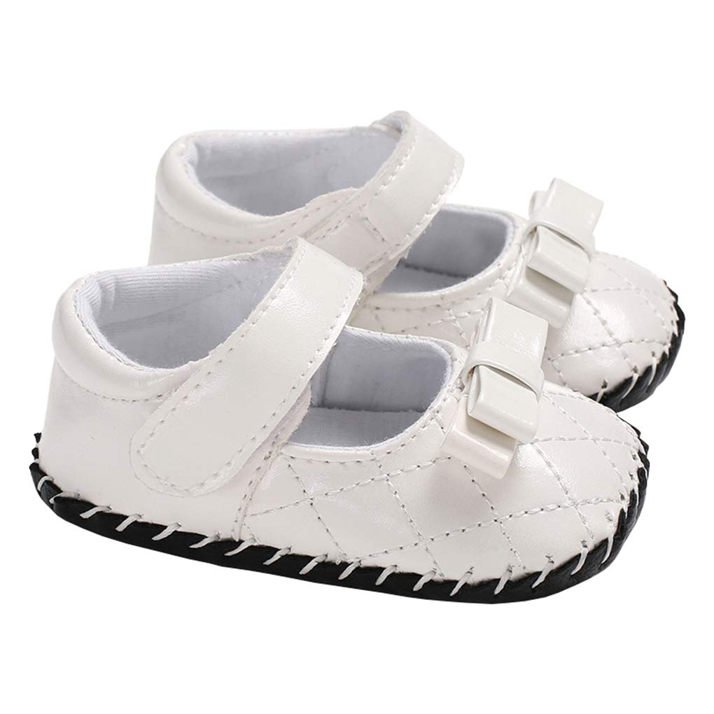 lakiolins Baby Girl Shiny Patent-Leather Plaid Mary Jane Princess Dress Shoes with Bowknot White Size S