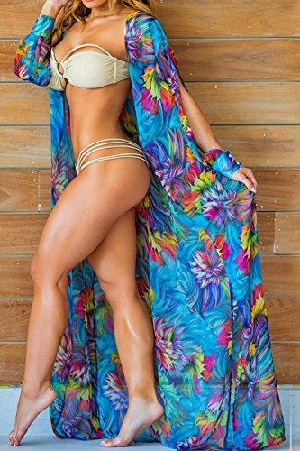Floral Abierto Bikini Frontal Print Beachwear Summer Maxi Split Mujeres Encubrimiento Blue CqwHx