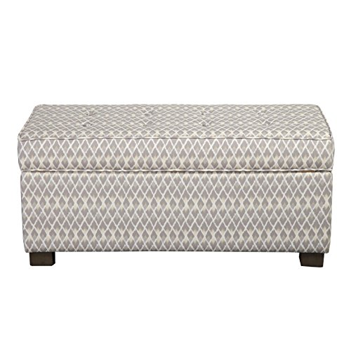 HomePop Large Rectangle Upholstered Storage Ottoman Bench, Grey Micro-Diamond