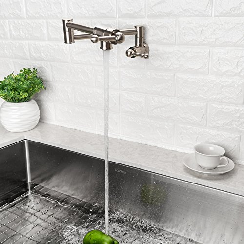 LORDEAR Stainless Steel Pot Filler Folding Stretchable Double Joint Swing Arm Brushed Nickel Wall Mount Kitchen Faucet, Single Hole Two Handle Kitchen Sink Faucet by Lordear (Image #3)
