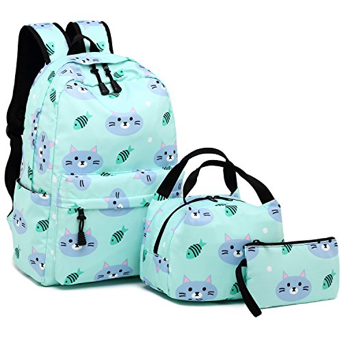 BLUBOON Backpack for School Girls Teens Bookbag Set Water Resistant Women Laptop Casual Daypack (Water blue-004) -