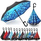 Siepasa Auto Open Reverse Umbrella, Umbrella Windproof, Inverted Umbrella, Umbrellas for Women with UV Protection, Upside Dow