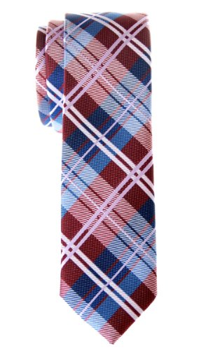 Retreez Elegant Tartan Check Woven Microfiber Skinny Tie - Burgundy and Blue