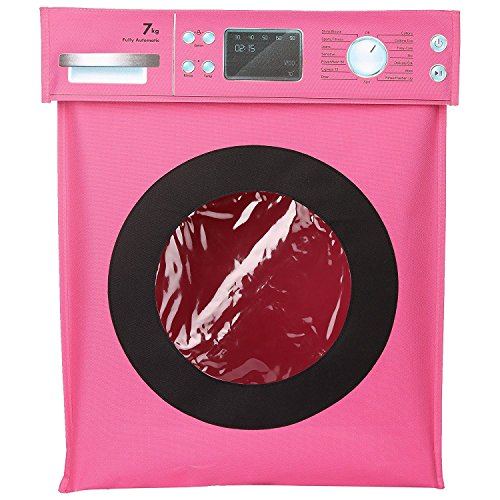 Amazon NewYear Gift Sale - Washing Machine Graphic Laundry Basket - Buy 1 Get 1 Offer - Top Opening Fold able Hamper - 44 x 55 x 26 Cms - Pink