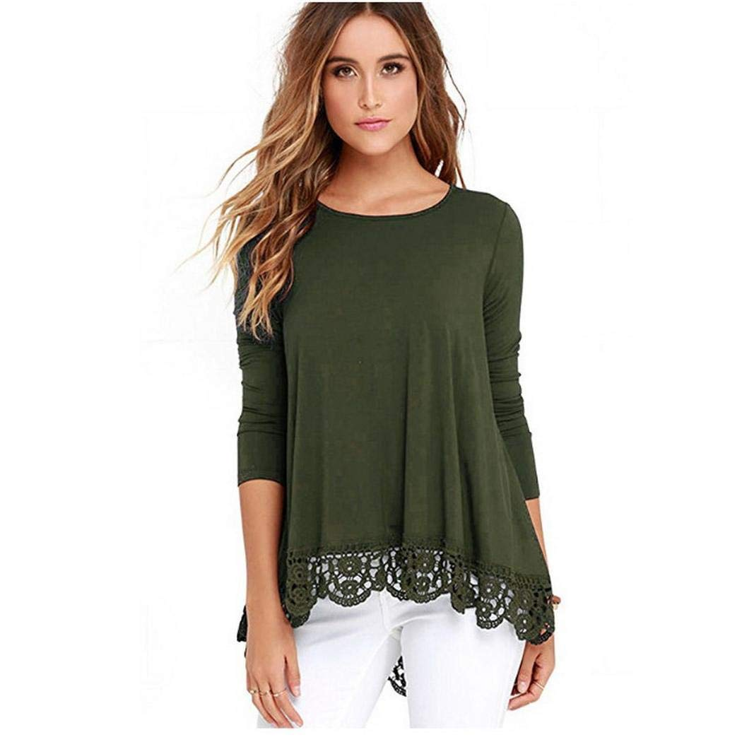 lazinem Women Casual O-Neck Lace Patchwork Hem T-Shirt Knits & Tees Army Green