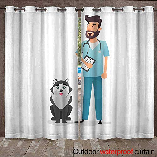 r Ultraviolet Protective Curtains Friendly Cartoon Veterinarian Character Happy Vet Doctor with a Folder and a Stethoscope Stands Near The Dog Husky A pro W108 x L84 ()