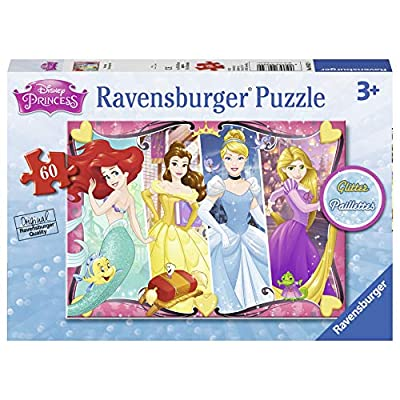 Ravensburger - Disney Princess Heartsong 60 Piece Glitter Jigsaw Puzzle for Kids – Every Piece is Unique, Pieces Fit Together Perfectly: Toys & Games