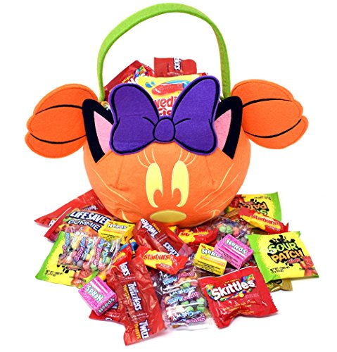 DISNEY HALLOWEEN CANDY GIFT BASKET 2 LB - MINNIE Mouse Gift Bag with Assorted Candies, Starburst, Skittles, Sour Patch Kids, Lifesavers, Twizzlers, Swedish Fish, Haribo, Sweetarts