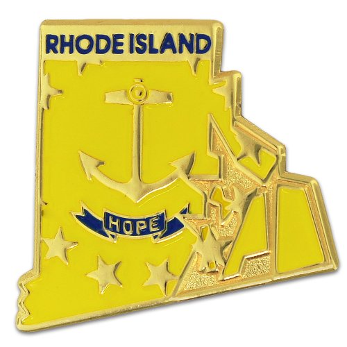 PinMart State Shape of Rhode Island and Rhode Island Flag Lapel Pin