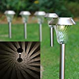 Set of 6 Stainless Steel Silver Solar Path Lights
