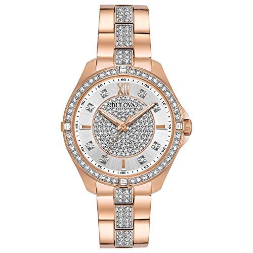 - Bulova Women's Quartz Watch with Stainless-Steel Strap, Rose Gold, 16 (Model: 98L229