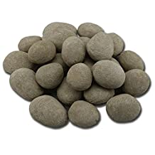 24 Pcs Grey stone-like decorative Ceramic pebble.For All Types of Indoor, Gas Inserts, Ventless & Vent Free, Electric, or Outdoor Fireplaces & Fire Pits. Realistic Clean Burning Accessories