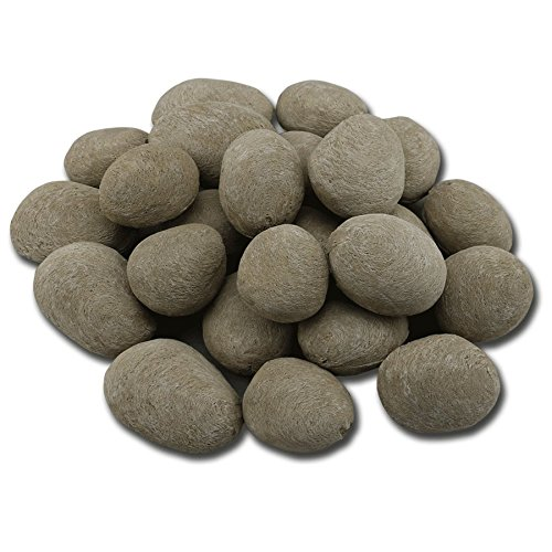 24 Pcs Grey stone-like decorative Ceramic pebble.For All Types of Indoor, Gas Inserts, Ventless & Vent Free, Electric, or Outdoor Fireplaces & Fire Pits. Realistic Clean Burning Accessories (Pit Outdoor Electric Fire)
