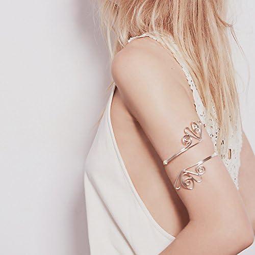 keland Femmes R/églable Creux Brassard Bracelet en Alliage F/ête Mariages Haut du Bras Cha/îne