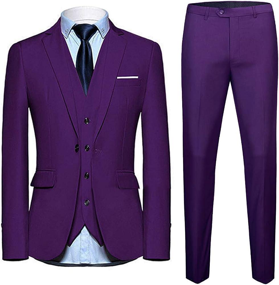 Allthemen Abiti da Uomo 3 Pezzi Slim Fit Wedding T-Shirt Formale One Button Close Giacche Giacca Gilet Pantaloni
