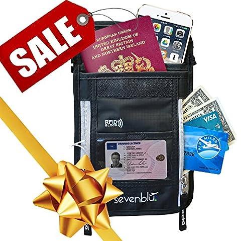 SevenBlu Passport Holder | Travel Neck Wallet w RFID Block - # 1 Hidden Neck Pouch - PREMIUM Quality Money Belt - for Women and Men (Blackberry Passport Clip)