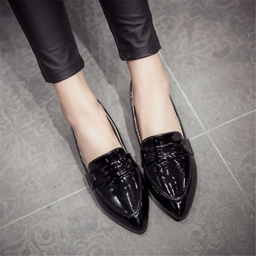 fondo zapatos zapatos laca plana suela de suela de plano tallas de Zapatos estudiante de grandes black de tPFwqzxT