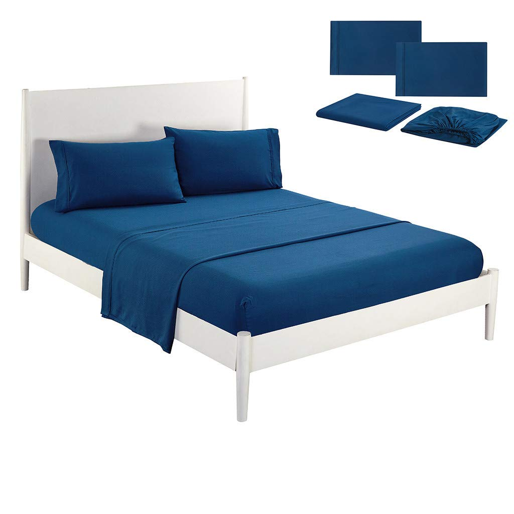 Beyonds Pure Blue Luxury 4 Piece Bed Set Deep Pockets Bedding Set Includes x1 Duvet Cover x2 Pillowcases and x1 Fitted Sheet - Soft Cotton Fabric