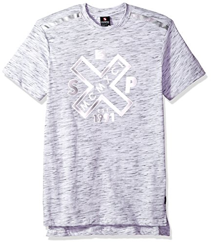 - Southpole Men's Big and Tall Short Sleeve Slub Tee with Tech Detail, Marled White(Crewneck), 5XB