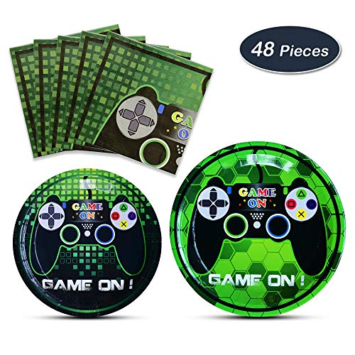 WERNNSAI Game Party Supplies Kit - Video Game Themed Party Packs for Boys Kids Birthday Baby Shower Game Lovers Dinner Dessert Plates Napkins Serves 16 Guests 48 -