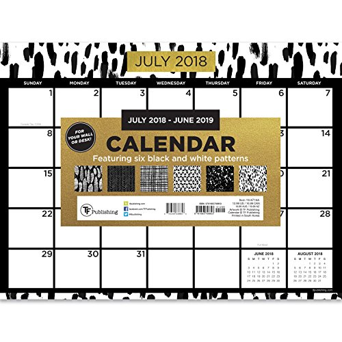 6A July 2018 - June 2019 Black White and Gold Mini Desk Pad Calendar, 12 x 9